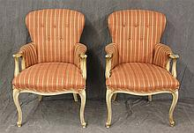 Pair of Louis XV Style Arm Chairs, Striped Upholstery, Padded and Scrolled Arms on Cabriole Legs, 36