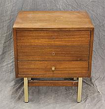American Furniture of Martinsville, Mid-Century Modern Night Stand, Mahogany, Three Drawers, (Missing Two Drawer Knobs), 23 1/2