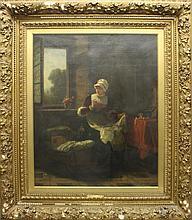 Bethke, Hermann, 1825-1895, Germany, Interior Genre Scene. Oil on Canvas under Glass.