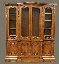 Louis XV Style Breakfront Library Bookcase, Walnut, Distressed 95