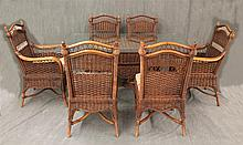 7 Piece Wicker Dining Suite by Braxton Culler, (1) Glass Top Table 29
