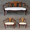3 Piece Furniture Set, Carved Mahogany and Damask Fabric and Mother of Pearl Inlay (1) Settee on Casters 35