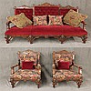 3 Piece Victorian Eastlake Set, Carved Walnut, (1) Sofa 43