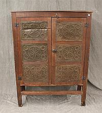 Pie Safe, Pine, Stretcher Base and Punched Tin Panel Doors, (Wear and Scratching) 55 1/2