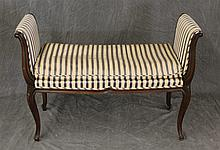 Dressing Bench, Walnut with Blue and Cream Striped Upholstery, (Staining on Upholstery and Minor Scratches), 29