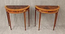 Pair of Demilune Tables from Councill Craftsman, Veneered Marquetry, 28