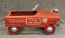 Murray, Parkleigh Fire Chief Pedal Car, Red Painted, (Some Oxidation and Wear), 16