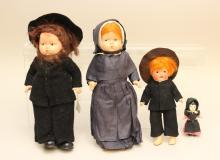 LOT OF (4) AMISH/OLD MENNONITE DOLLS IN ORIGINAL CLOTHING.