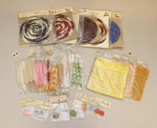 LOT OF VINTAGE CROCHETED DOLLHOUSE ACCESSORIES: AFGHANS, BED SPREADS, CARPETS, POT HOLDERS.