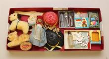 LOT OF MINIATURES: ANIMALS, DOLL HATS, STATIONARY SUPPLIES, FLATWARE, NUT HEAD DOLL, ETC.