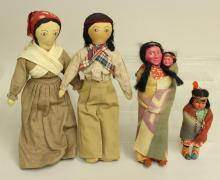 LOT OF (4) ALL ORIGINAL NATIVE AMERICAN DOLLS INC. PAIR OF SKOOKUM TYPE.