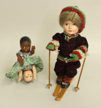 PAIR OF UNMARKED COMPOSITION DOLLS: