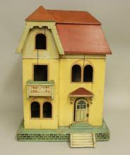 1920's-1930's PAINTED WOODEN DOLL HOUSE, SOME FURNITURE.