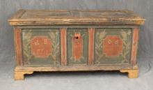 European Paint Decorated Blanket Chest