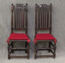(2) Pair of William and Mary Hall Chairs
