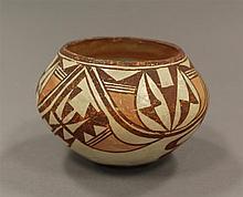 Pottery vase, cream color with brown and orange design, Santa Clara, Zia, 3 1/2