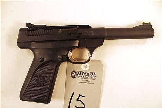 "Browning Buck Mark semi-automatic target pistol. Cal. 22 LR. 5-1/2"" heavy bbl. SN 515ZM27954. Matte finish on metal, factory rubber..."