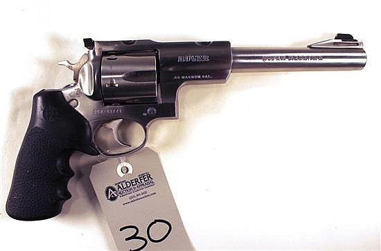"Ruger Super Red Hawk double action revolver. Cal. 44 Mag. 7-1/2"" bbl. SN 552-43771. Stainless steel finish on metal, rubber combat g..."