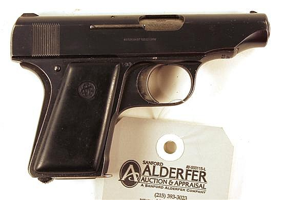 "Ortgies Vest Pocket Automatic semi-automatic pistol. Cal. 6.35 mm. 2-3/4"" bbl. SN 81916. Blued finish on metal, slide shows very sma..."