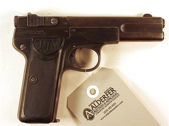 "Friedrich Langenhan Selbstlader semi-automatic pistol. Cal. 7.65 mm. 4"" bbl. SN 42425. Patina finish on metal, very light freckling ..."