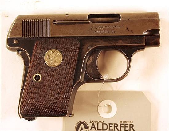 "Colt Model 1908 Vest Pocket Hammerless semi-automatic pistol. Cal. 25 ACP. 2"" bbl. SN 210809. Little to no finish left on slide, lef..."