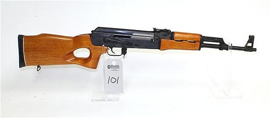 """Norinco MAK-90 Sporter semi-automatic rifle. Cal. 7.62 x 39 mm. 16"""" bbl. SN 9449705. Blued finish on metal, barrel threads have been..."""