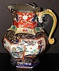 Mason's Gaudy Ironstone Pitcher with Pewter Top & Serpent Handle