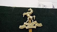 Royal Kent West Inf 1914 cap badge with slider