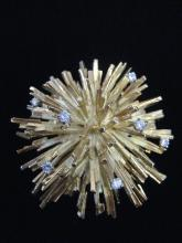 French Starburst Brooch in Gold and Diamonds