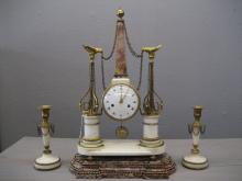 Louis XVI Ormulo and Mounted White Marble Mantel Clock & Candle Sticks
