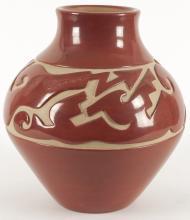 Virginia Ebelacker | Red Pot with Incised Design