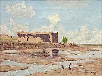Carl A.Eytel A Rio Grande Pueblo 12 1/4 by 16 1/4