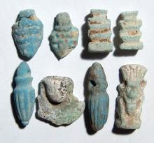 A lot of 8 Egyptian faience amulets
