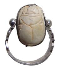 Egyptian scarab set in a nice wearable silver ring