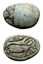Egyptian steatite scarab with a horned goat