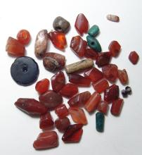 40 Near Eastern stone & glass beads, collected 1913-1915