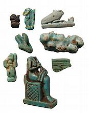 A mixed group of Egyptian faience amulets