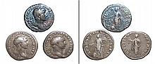 3 Roman silver coins of emperors Trajan and Hadrian