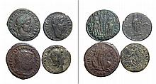 A lot of 4 Roman bronze coins