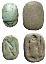 A lot of 2 Egyptian New Kingdom faience scarabs