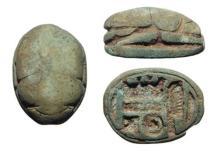 Egyptian green paste scarab, Late Period