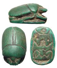 Egyptian green faience scarab, Late Period