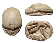 Egyptian faience scarab with lion, Late Period