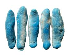 A lot of 5 Egyptian faience ushabti