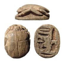 A nice Egyptian brown steatite scarab