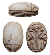 A nice Egyptian steatite scarab with two cranes