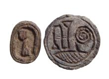 Egyptian scarab and round scaraboid