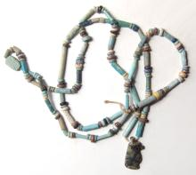 Necklace of Egyptian beads and amulet pendant