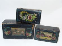 3 vintage Mexican lacquered boxes from Olinala