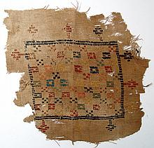 Coptic textile panel with geometric decoration
